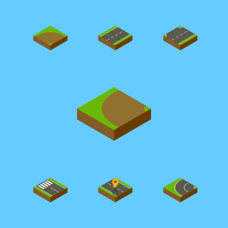 Isometric Road Set Of Way, Upwards, Sand Vector Objects. Also Includes Road, Strip, Bitumen Elements.