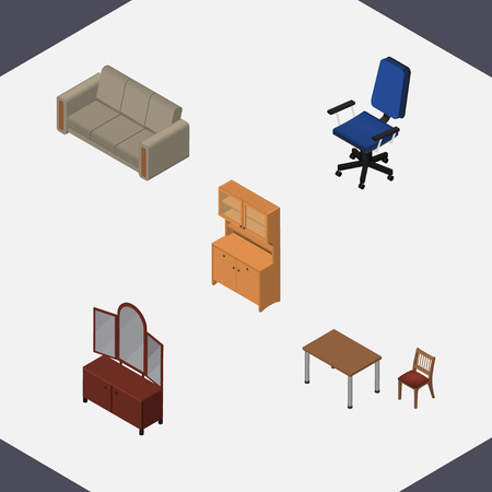 arredamento classico: Isometric Design Set Of Chair, Drawer, Cupboard And Other Vector Objects. Also Includes Wardrobe, Couch, Cupboard Elements.
