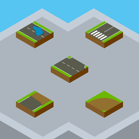 Isometric Road Set Of Sand, Plash, Rightward Vector Objects. Also Includes Sand, Plash, Puddle Elements.
