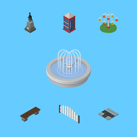 Isometric City Set Of Barricade, Sculpture, Park Decoration And Other Vector Objects. Also Includes Carousel, Seat, Road Elements.