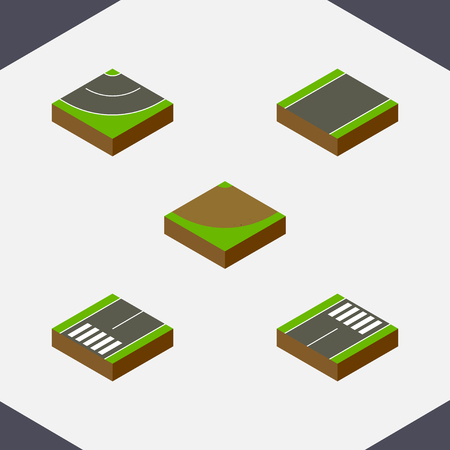 unilateral: Isometric Road Set Of Footer, Turn, Unilateral And Other Vector Objects. Also Includes Bitumen, Turn, Footpassenger Elements.