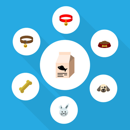 Flat Icon Pets Set Of Bunny, Fish Nutrient, Osseous And Other Vector Objects. Also Includes Food, Box, Bone Elements.