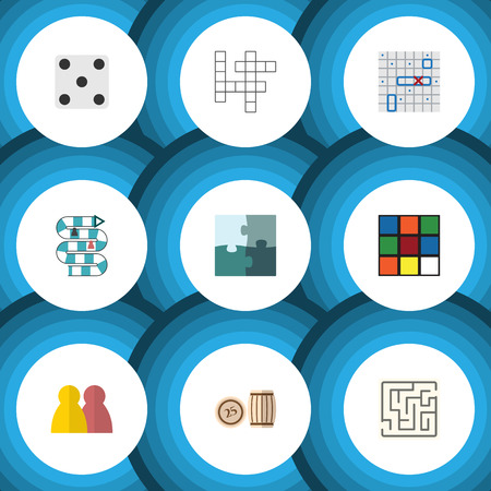 Flat Icon Entertainment Set Of Sea Fight, Multiplayer, Lottery And Other Vector Objects. Also Includes Bingo, Maze, Labyrinth Elements. Illustration