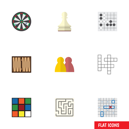 Flat Icon Games Set Of People, Guess, Sea Fight And Other Vector Objects. Also Includes Alphago, Battle, Dice Elements.