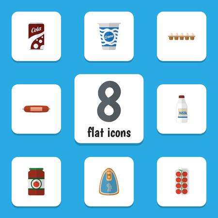 Flat Icon Meal Set Of Canned Chicken, Fizzy Drink, Kielbasa And Other Vector Objects. Also Includes Sausage, Apple, Chicken Elements.