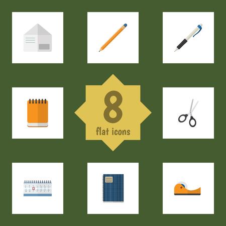 フラット アイコン文具は鉛筆、草紙、バリカン、他のベクトル オブジェクトのセット。年鑑、メモ帳、鉛筆の要素も含まれています。