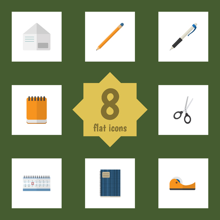 Flat Icon Stationery Set Of Pencil, Copybook, Clippers And Other Vector Objects. Also Includes Almanac, Notepad, Pencil Elements.