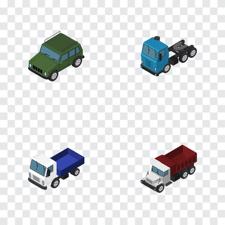 Isometric Automobile Set Of Armored, Truck, Lorry And Other Vector Objects. Also Includes Armored, Suv, Truck Elements. Illustration