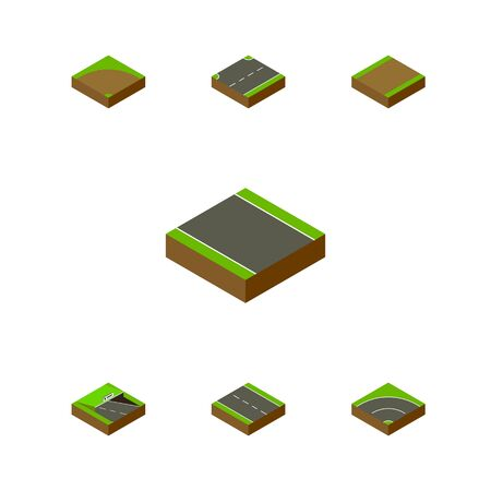 Isometric Way Set Of Upwards, Without Strip, Footpath And Other Vector Objects. Also Includes Asphalt, Bitumen, Lane Elements. Illustration