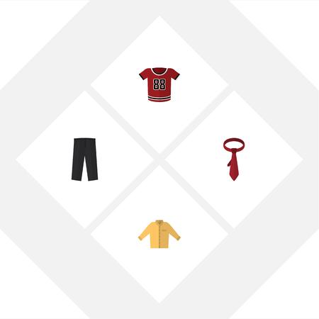 Icône plate vêtements ensemble de banian, t-shirt, cravate et autres objets vectoriels. Comprend également une blouse, un pantalon et des éléments banyans. Banque d'images - 81635704