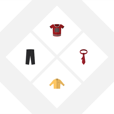 Flat Icon Clothes Set Of Banyan, T-Shirt, Cravat And Other Vector Objects. Also Includes Blouse, Pants, Banyan Elements.