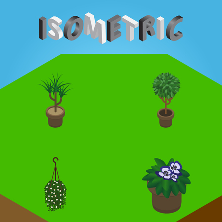Isometric Flower Set Of Tree, Flowerpot, Blossom And Other Vector Objects. Also Includes Flower, Plant, Hanging Elements. Illustration