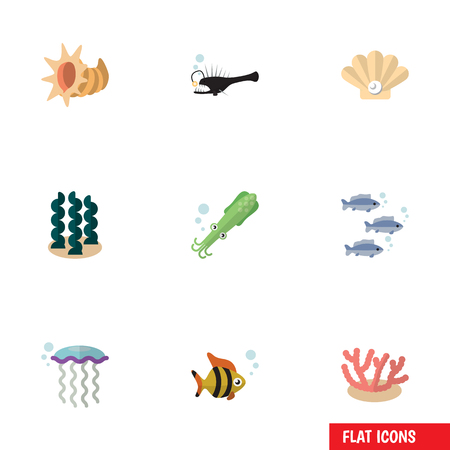 Flat Icon Nature Set Of Algae, Seafood, Conch And Other Vector Objects. Also Includes Angler, Jellyfish, Tuna Elements.