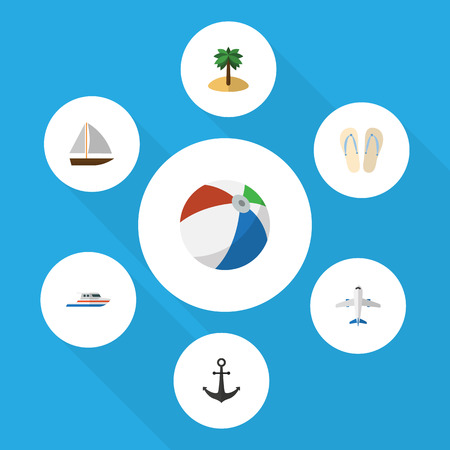 footwear: Flat Icon Summer Set Of Aircraft, Coconut, Sphere And Other Vector Objects. Also Includes Aircraft, Plane, Hook Elements.