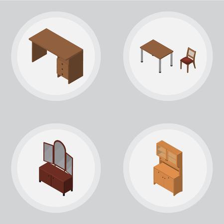 arredamento classico: Set di mobili isometrici di tavola, armadio, cassetto e altri oggetti vettoriali. Inoltre include la sedia, l'armadietto, gli elementi della credenza.