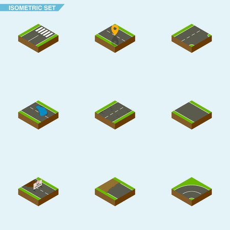 unilateral: Isometric Road Set Of Cracks, Footer, Navigation And Other Vector Objects. Also Includes Bitumen, Road, Plash Elements.