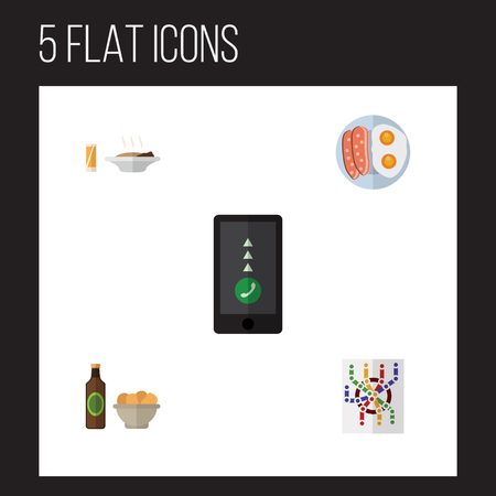 ale: Flat Icon Oneday Set Of Fried Egg, Beer With Chips, Cellphone And Other Vector Objects. Also Includes Smartphone, Snack, Router Elements. Illustration