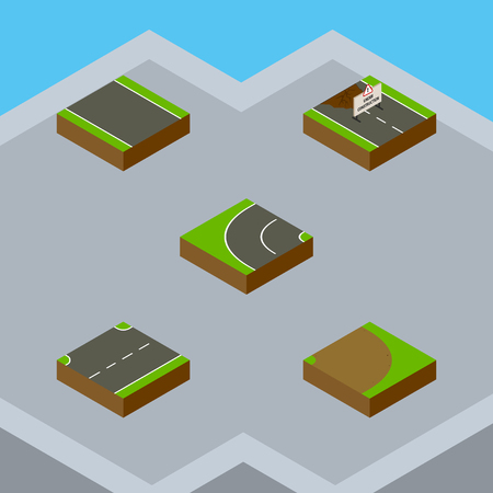 unilateral: Isometric Road Set Of Upwards, Rotation, Repairs And Other Vector Objects. Also Includes Up, Turning, Road Elements. Illustration