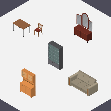 Isometric Furniture Set Of Sideboard, Cupboard, Couch And Other Vector Objects. Also Includes Mirror, Wardrobe, Cabinet Elements.