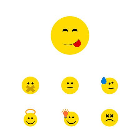 Flat Icon Expression Set Engel, Leckeres Essen, Cross-Eyed Gesicht Und Andere Vektor Objekte. Auch Enthält Gesicht, Lächeln, Silent Elements.