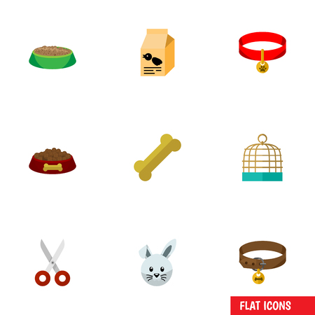 brown hare: Flat Icon Pets Set Of Rabbit Meal, Nutrition Box, Shears And Other Vector Objects. Also Includes Bird, Cage, Clippers Elements. Illustration