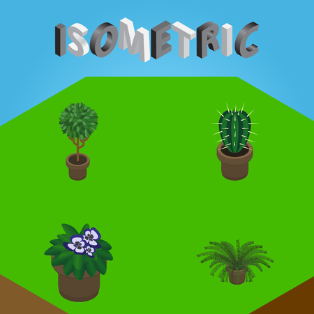 Isometric Plant Set Of Tree, Peyote, Plant And Other Vector Objects. Also Includes Cactus, Flowerpot, Pot Elements. Illustration