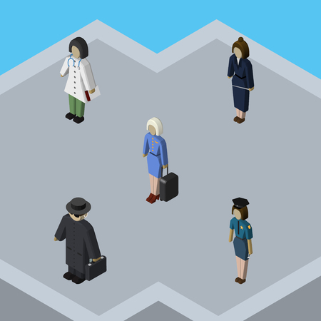 investigating: Isometric Person Set Of Detective, Hostess, Doctor And Other Vector Objects. Also Includes Detective, Lady, Doctor Elements.