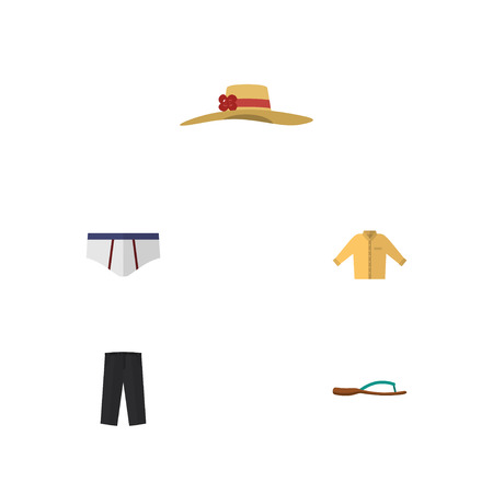 Flat Icon Garment Set Of Banyan, Pants, Underclothes And Other Vector Objects. Also Includes Man, Briefs, Sandal Elements.