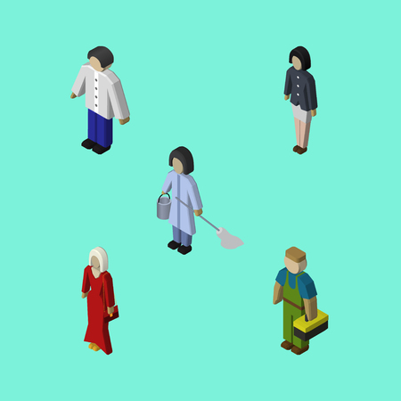 Isometric Human Set Of Male, Housemaid, Female And Other Vector Objects. Also Includes Worker, Guy, Cleaner Elements.