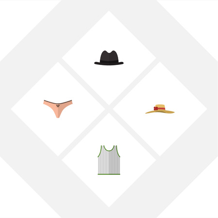 Flat Icon Garment Set Of Panama, Lingerie, Elegant Headgear And Other Vector Objects. Also Includes Sleeveless, Fedora, Lingerie Elements.