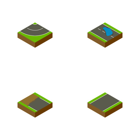 unilateral: Isometric Way Set Of Unilateral, Road, Plash And Other Vector Objects. Also Includes Plash, Road, Bitumen Elements.
