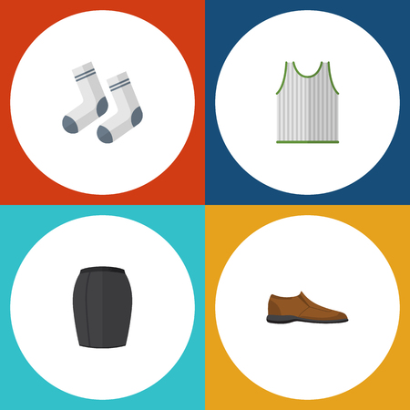 Flat Icon Dress Set Of Male Footware, Stylish Apparel, Foot Textile And Other Vector Objects. Also Includes Apparel, Tank, Textile Elements.