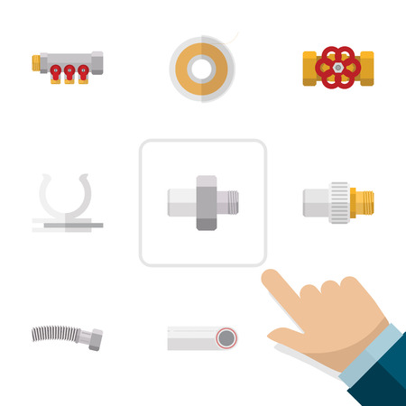 Flat Icon Industry Set Of Pump Valve, Pipework, Roll And Other Vector Objects. Also Includes Pipework, Roll, Valve Elements. Illustration