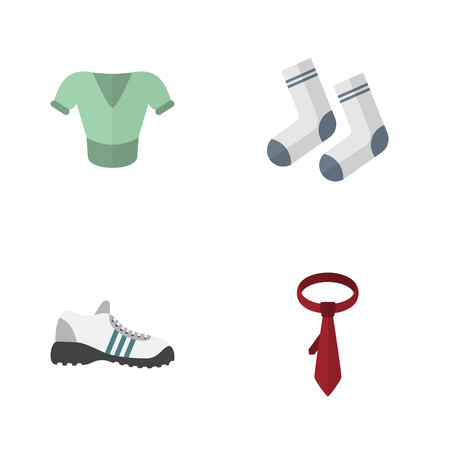 tunic: Flat Icon Dress Set Of Cravat, Sneakers, Foot Textile And Other Vector Objects. Also Includes Socks, Clothes, Cravat Elements. Illustration