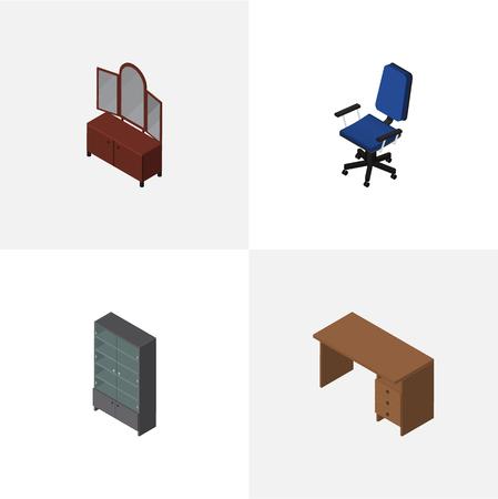 arredamento classico: Set di mobili isometrici di tavolo, cassetto, ufficio e altri oggetti vettoriali. Include anche sedia, specchio, elementi di credenza. Vettoriali