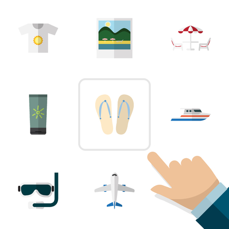moisturizer: Flat Icon Summer Set Of Beach Sandals , Recliner, Boat Vector Objects. Also Includes Flop, Yacht, Sun Elements.