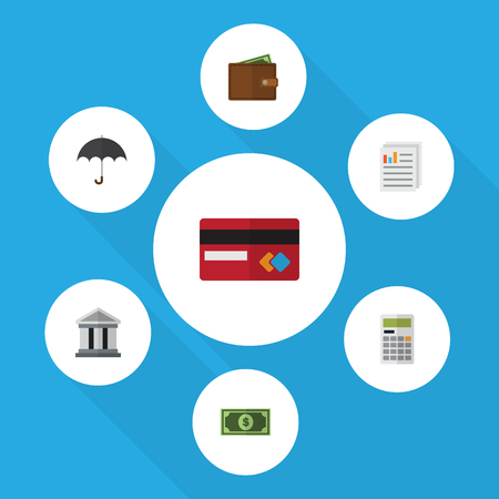 Flat Icon Gain Set Of Billfold, Document, Calculate And Other Vector Objects. Also Includes Greenback, File, Document Elements.