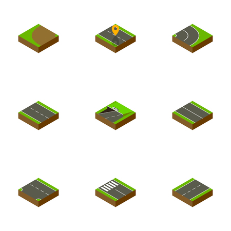 Isometric Road Set Of Single-Lane, Strip, Flat And Other Vector Objects. Also Includes Down, Downward, Navigation Elements.