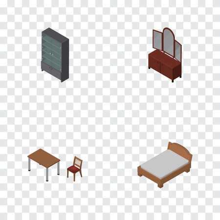 Isometric Design Set Of Sideboard, Chair, Drawer And Other Vector Objects. Also Includes Cabinet, Bedstead, Cupboard Elements.