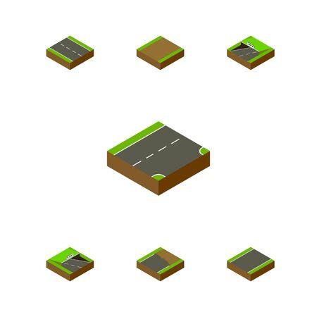 아이소 메트릭 웨이 단방향, 미완성, 아래 및 다른 벡터 개체의 집합입니다. 또한 도로, 아래, 차선 요소를 포함합니다.
