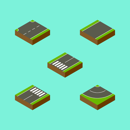 the roadside: Isometric Road Set Of Footpassenger, Road, Footer And Other Vector Objects. Also Includes Unilateral, Strip, Asphalt Elements.