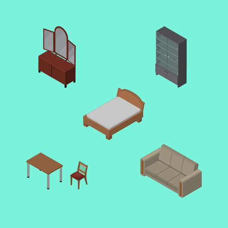 Isometric Furnishing Set Of Chair, Couch, Sideboard And Other Vector Objects. Also Includes Sofa, Furniture, Couch Elements.