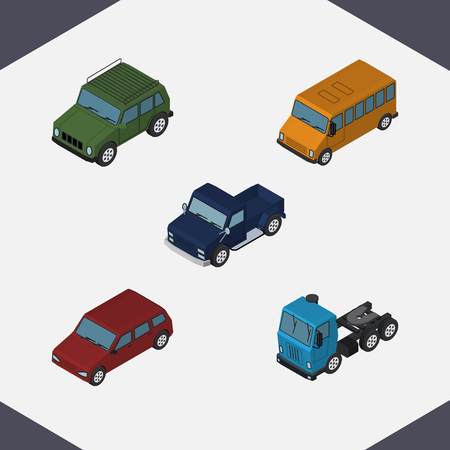 Isometric Transport Set Of Armored, Autobus, Truck And Other Vector Objects. Also Includes Truck, Bus, Sedan Elements.