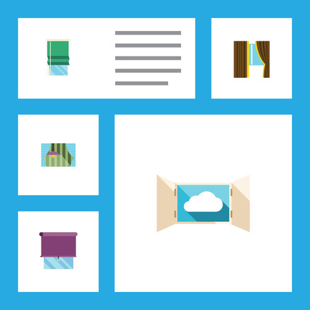 Flat Icon Glass Set Of Cloud, Glazing, Balcony And Other Vector Objects. Also Includes Cloud, Window, Curtain Elements.