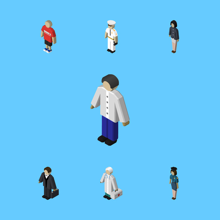 Isometric Person Set Of Medic, Policewoman, Guy And Other Vector Objects. Also Includes Mariner, Medic, Girl Elements.
