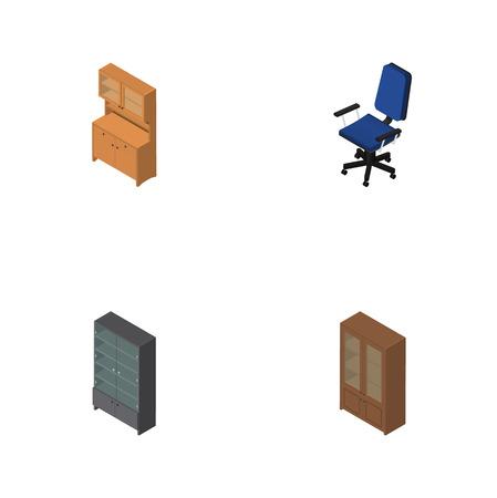 arredamento classico: Set di arredamento isometrico di ufficio, armadio, credenza e altri oggetti vettoriali. Include anche ufficio, armadietto, elementi del gabinetto. Vettoriali