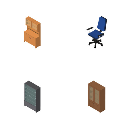 Isometric Furnishing Set Of Office, Cupboard, Sideboard And Other Vector Objects. Also Includes Office, Locker, Cabinet Elements.