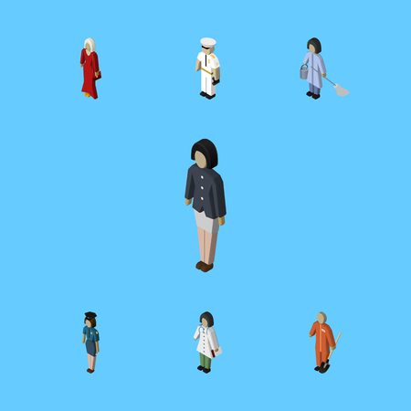 Isometric People Set Of Housemaid, Cleaner, Policewoman And Other Vector Objects. Also Includes Woman, Female, Policewoman Elements. Illustration