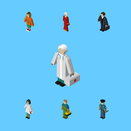 Isometric Person Set Of Female, Doctor, Lady And Other Vector Objects. Also Includes Female, Lady, Officer Elements.