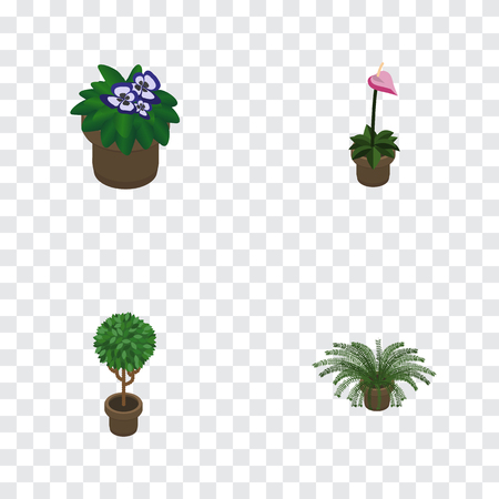 Isometric Plant Set Of Plant, Flowerpot, Tree And Other Vector Objects. Also Includes Pot, Flower, Flowerpot Elements.